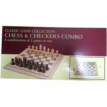 """Folding Wood Chess & Checkers Set, 15"""", One Color"""
