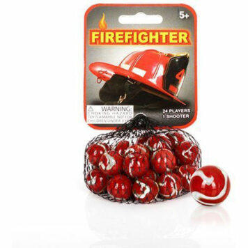 Mega Marbles - FIREFIGHTER MARBLES NET (1 Shooter Marble & 24 Player Marbles)