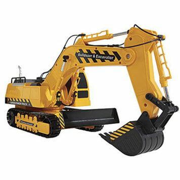 Kid Galaxy Mega Construction Remote Control Excavator & Bulldozer. 10 Function RC Toy Tractor, 49 MHz