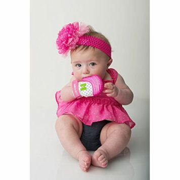 Munch Mitt Baby Teething Mitten Pink Shimmer