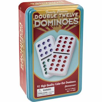Double Twelve Color DOT Dominoes In TIN