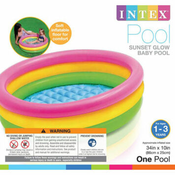 "Intex Baby Pool 34"" X 10"" Sunset Glow 3 Rings Age 1-3"