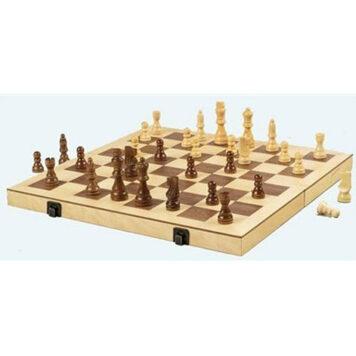 """Folding Wood Chess Set, 16"""""""