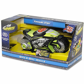 Kid Galaxy Kawasaki Ninja Motorized iRock & iRoll Motorcyle. Toddler Light and Sound Effects Toy