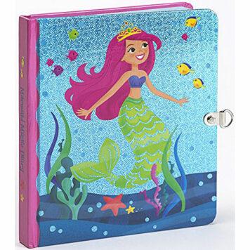 Peaceable Kingdom Mermaid Magic Shiny Foil Cover Lock and Key Diary