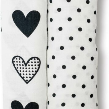 Cotton Muslin Swaddling Blankets - Dots & Hearts