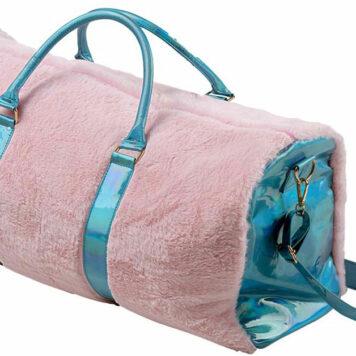 American Jewel Disco Vibe Fur Duffle Bag - Aqua