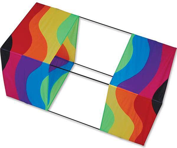 40 in. Box Kite - Wavy Rainbow