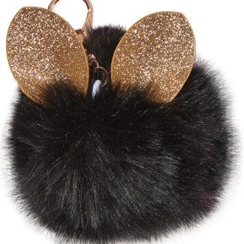 Black Glitter Ears Pom-Pom Clip