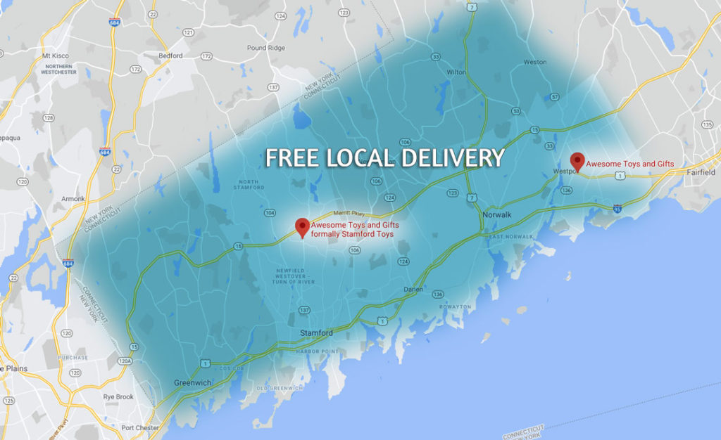 free local delivery area for Awesome Toy and Gifts